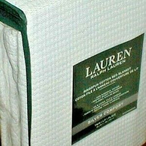 RALPH LAUREN BLANKET TWIN WHITE RINGSPUN WEAVE